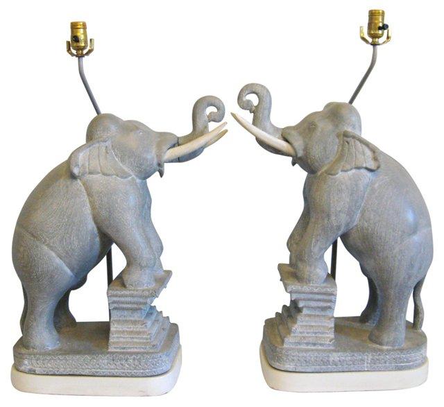 Monumental James Mont Elephant Lamps