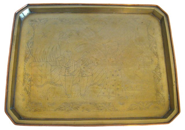 Asian Etched Brass Tray