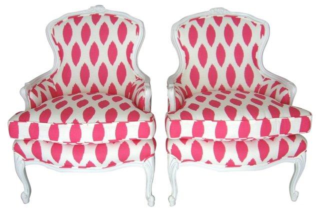 Hot Pink & White Ikat-Print Chairs, Pair
