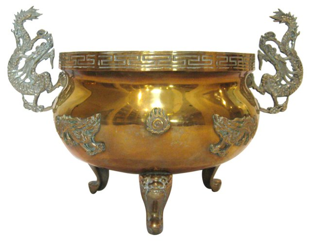 Brass Dragon Handle Footed Planter