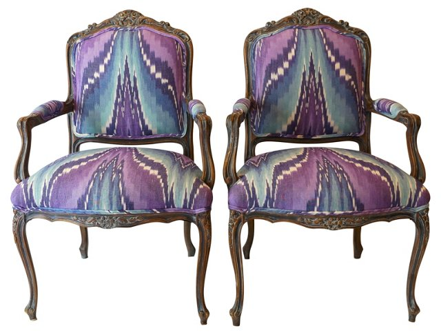 Ikat-Print French-Style Chairs, Pair