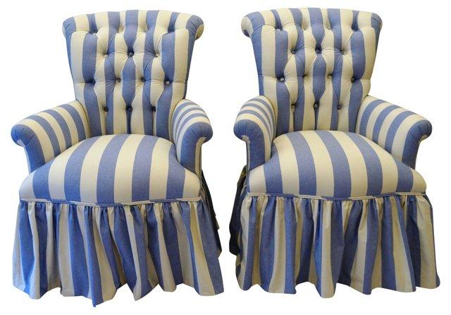 Blue & White Button-Tufted Chairs, Pair