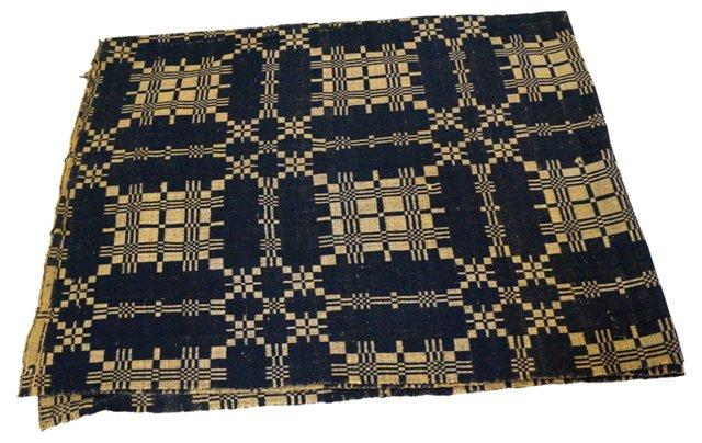 Antique Handwoven Overshot Coverlet