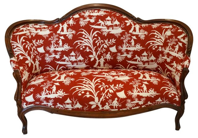Chinoiserie-Print Victorian Settee