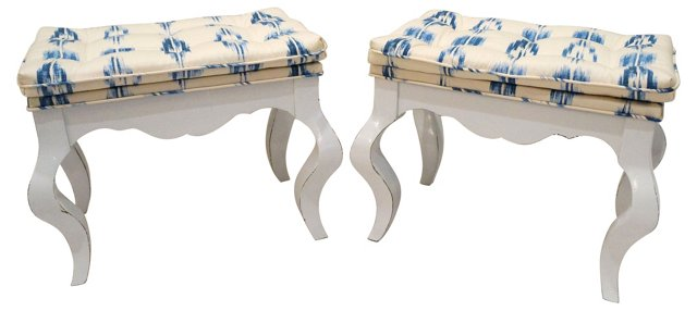 Blue & White Ikat Benches, Pair
