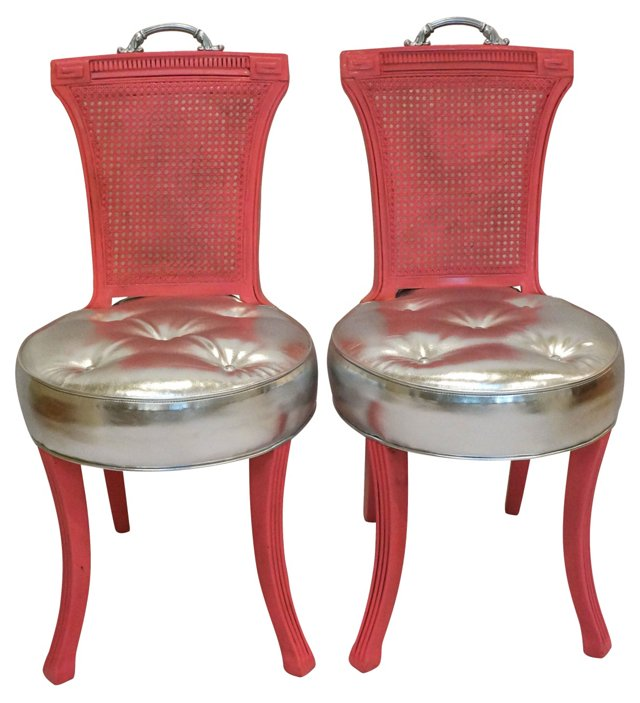 Pink & Silver Chairs, Pair