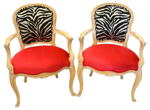 French Style Pink & Zebra Chairs, Pair