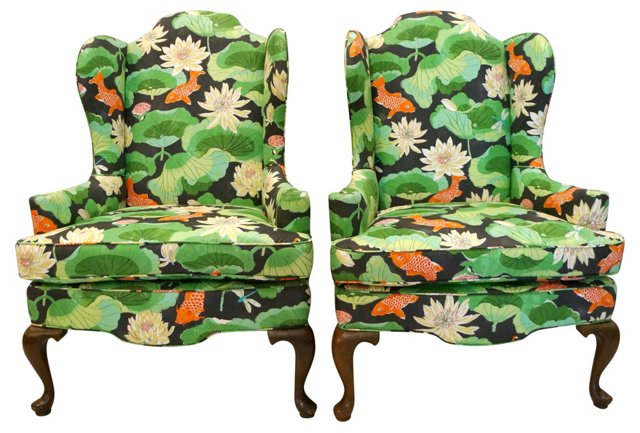 Koi & Lotus Print Wing Chairs, Pair