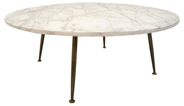 Midcentury Marble & Brass Leg Table