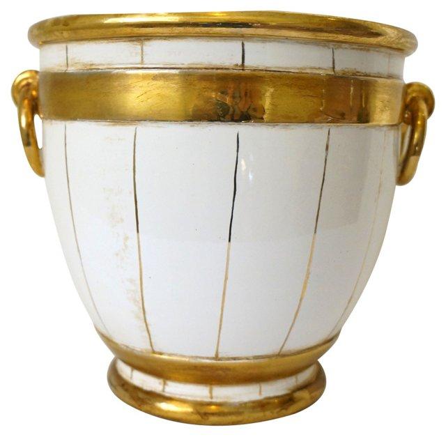Italian White & Gold Ceramic Planter