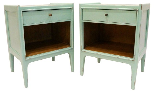 Midcentury Green Side Tables, Pair