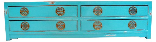 Turquoise Asian Low Cabinet