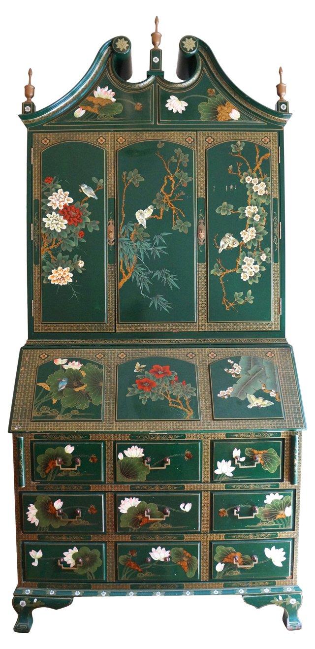 Emerald Chinoiserie Secretary Cabinet