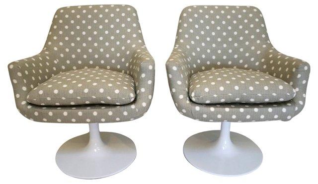 Midcentury Pedestal Swivel Chairs, Pair