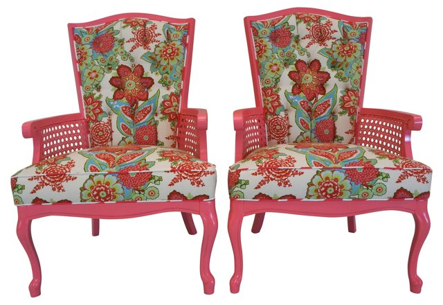 Pink Floral-Print Caned Chairs, Pair