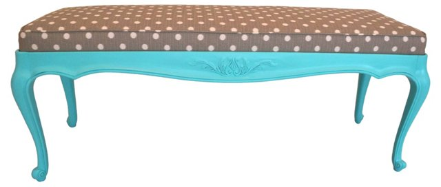 French-Style Aqua Blue & Ikat Bench