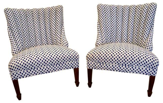 Blue & White Ikat Slipper Chairs, Pair