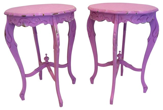 French Lilac  Side Tables, Pair