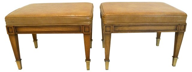 Leather   Benches, Pair