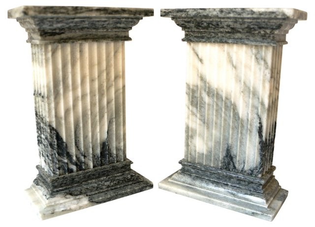 Carved Vermont Marble Bookends