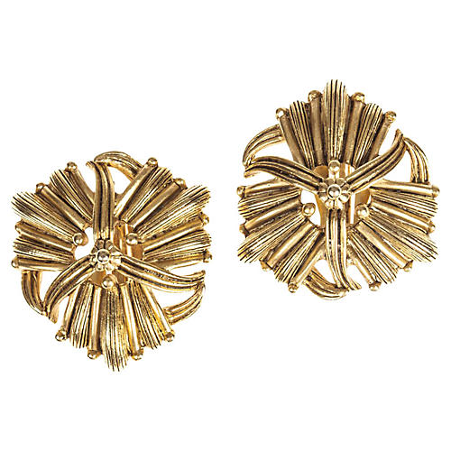 Oscar de la Renta Ornate Plated Earrings
