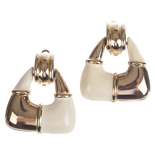Givenchy Two-Tone Dangle Hoop Earrings