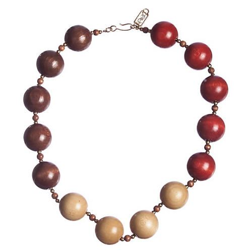 YSL Safari Wooden Bead Necklace