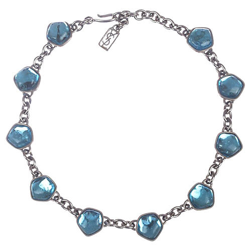 YSL Blue Topaz Gripoix Glass Necklace
