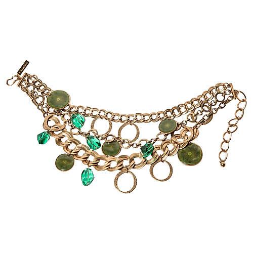 Oscar de la Renta Green Drops Necklace