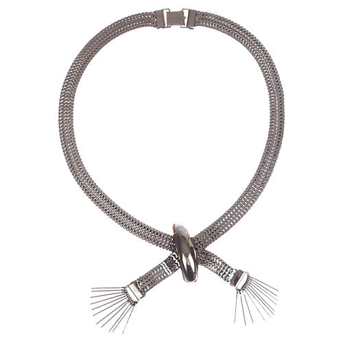 Silvertone Mesh Tassel Necklace