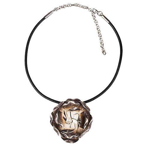 Sterling Silver Rose Flower Necklace