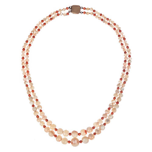 Red Coral Mother-of-Pearl Bead Necklace