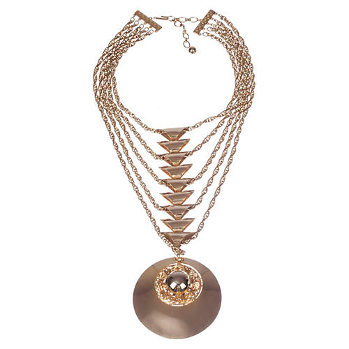 Runway Disc Pendant Chain Necklace