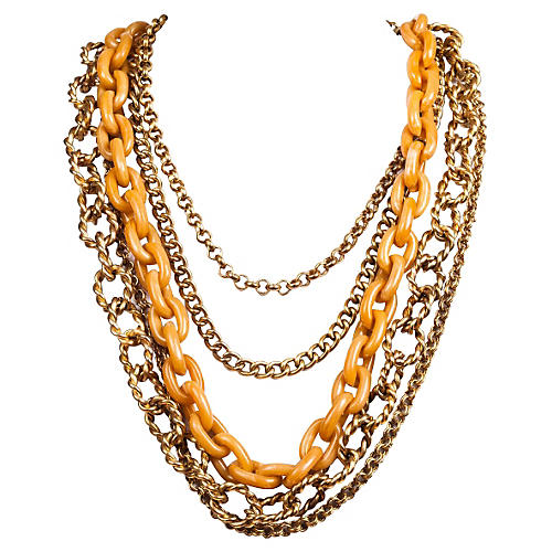 Kenneth Lane Gold & Orange Necklace
