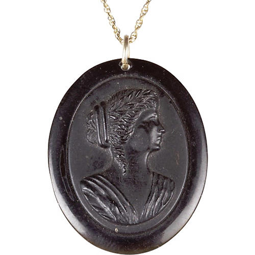 Victorian Jet Celluloid Cameo Necklace