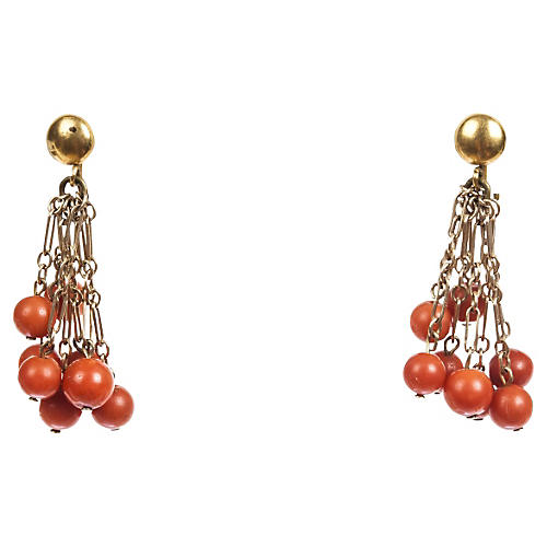 Red Coral Bead Tassel Earrings