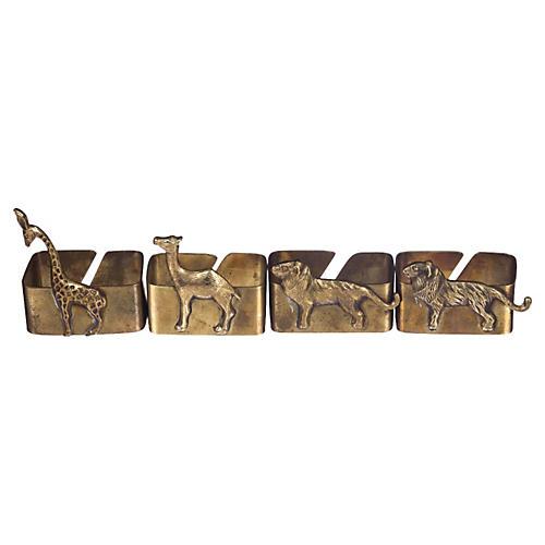 Brass Safari Napkin Holders, S/4