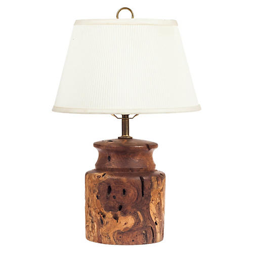 Burl-Wood Table Lamp