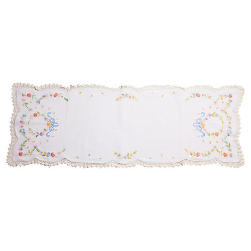 1920s Embroidered Linen Table Runner