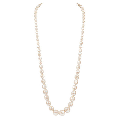 YSL Long Baroque Pearl Necklace