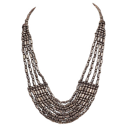 Indian-Style White Metal Bead Necklace