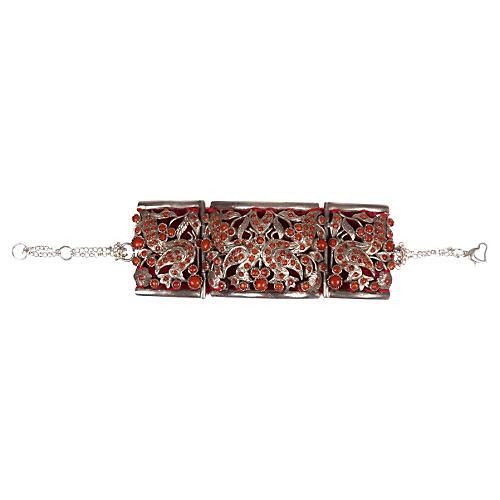 Indian Sterling Silver Coral Bracelet