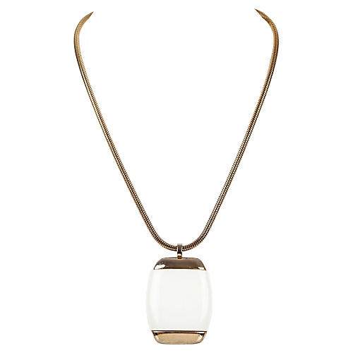Lanvin Gold & White Pendant Necklace