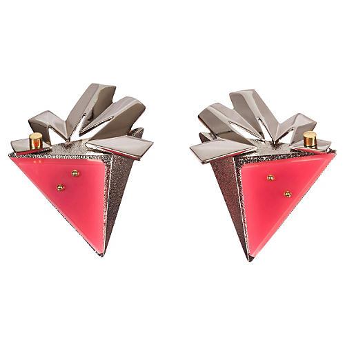 Balenciaga Pink, Silver & Gold Earrings