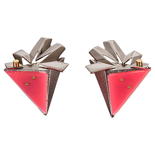 Balenciaga Pink, Silver & Gold Earrings
