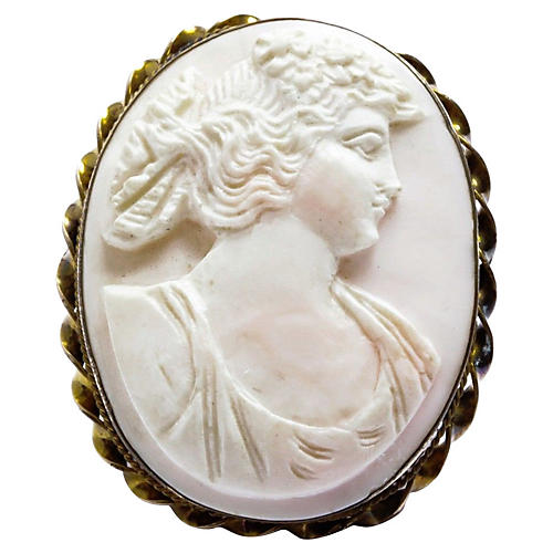Angel Skin Coral Cameo Pendant Pin