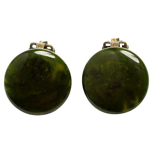 Round Green Swirl Bakelite Earrings