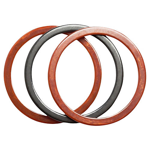 Bakelite Red & Black Bangles, S/3