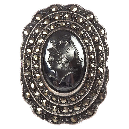 Art Deco Carved Hematite Intaglio