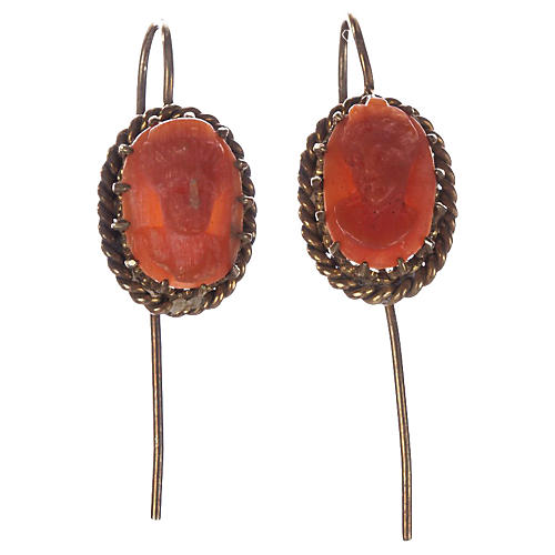 Victorian Red Coral Cameo Drop Earrings
